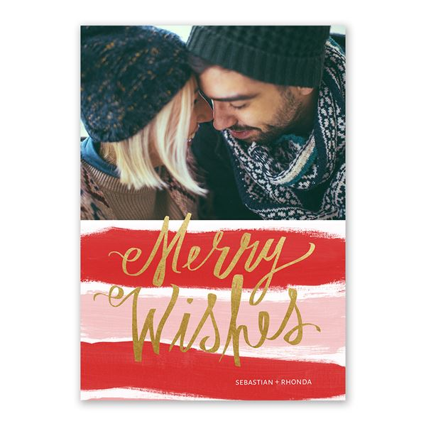 Candy Cane Wishes Foil Holiday Card