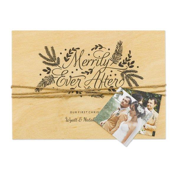 Naturally Merry Real Wood Holiday Card