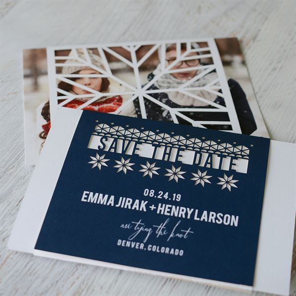 Playful Winter Laser Cut Holiday Save the Date Card