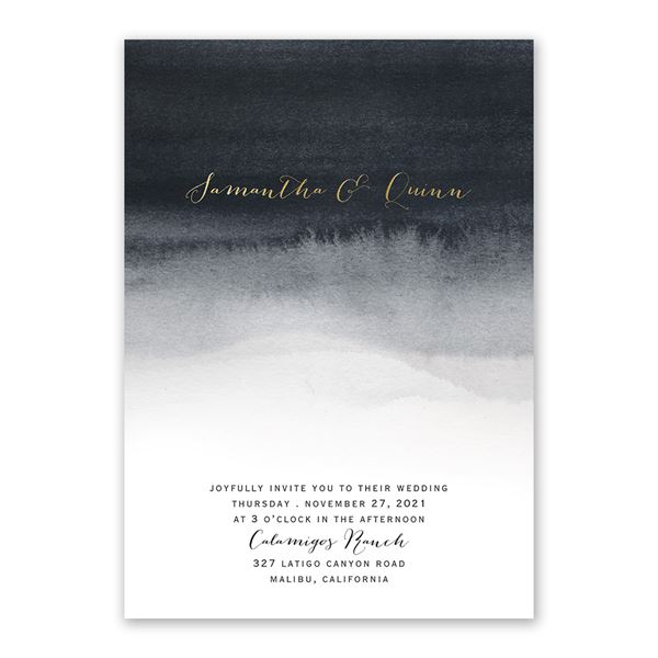 Mysterious Love - Black - Foil Invitation