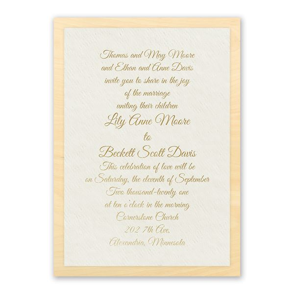 Natural Luxury Real Wood Invitation with Foil