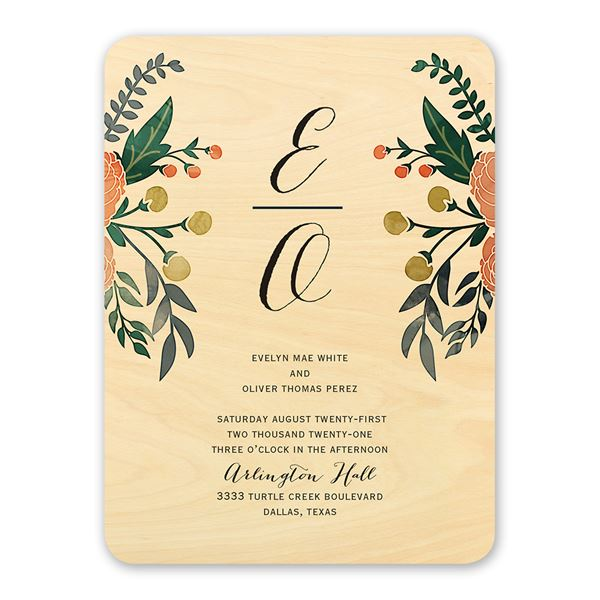 Floral Fancy Real Wood Invitation
