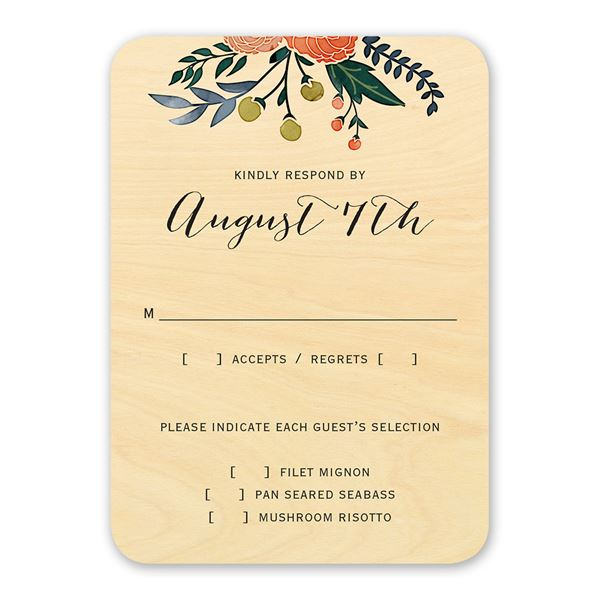 Floral Fancy Real Wood Response Card