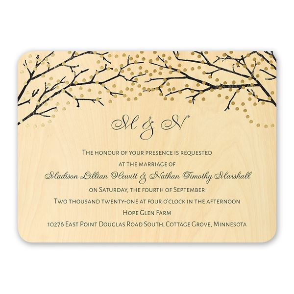 Sparkling Canopy Real Wood Invitation with Foil