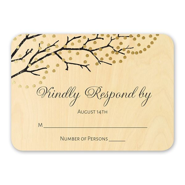 Sparkling Canopy Real Wood Response Card with Foil