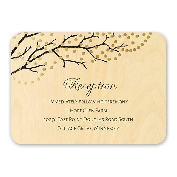 Sparkling Canopy Real Wood Reception Card with Foil