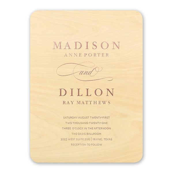 Elegance Engrained Real Wood Invitation with Foil