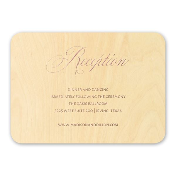 Elegance Engrained Real Wood Reception Card with Foil