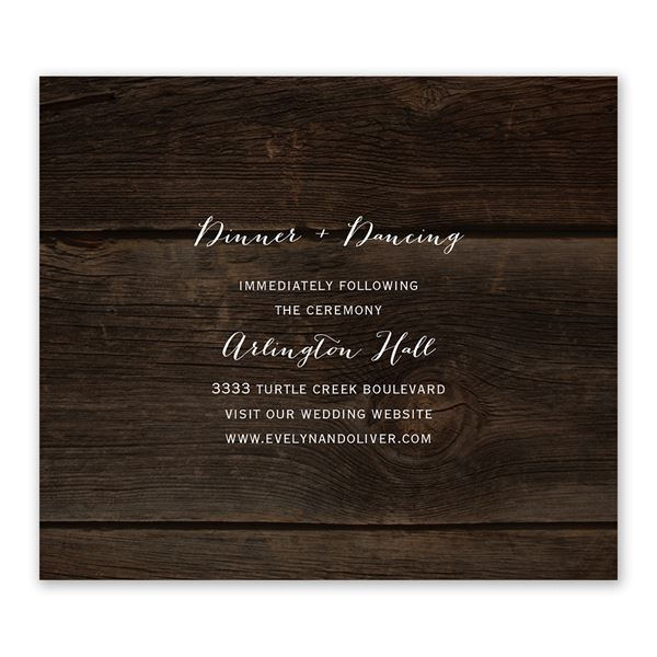 Rustic Beauty Information Card