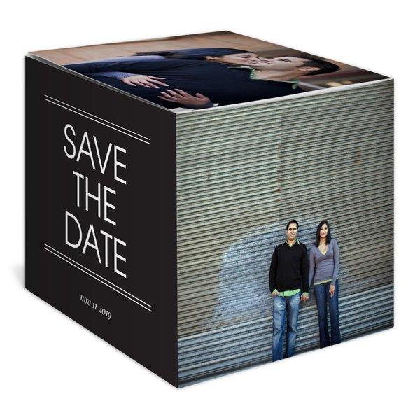Modern Treasure Save the Date Photo Cube