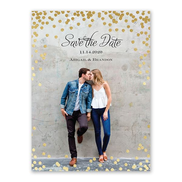 Polka Dot Glow - Gold - Foil Save the Date Card