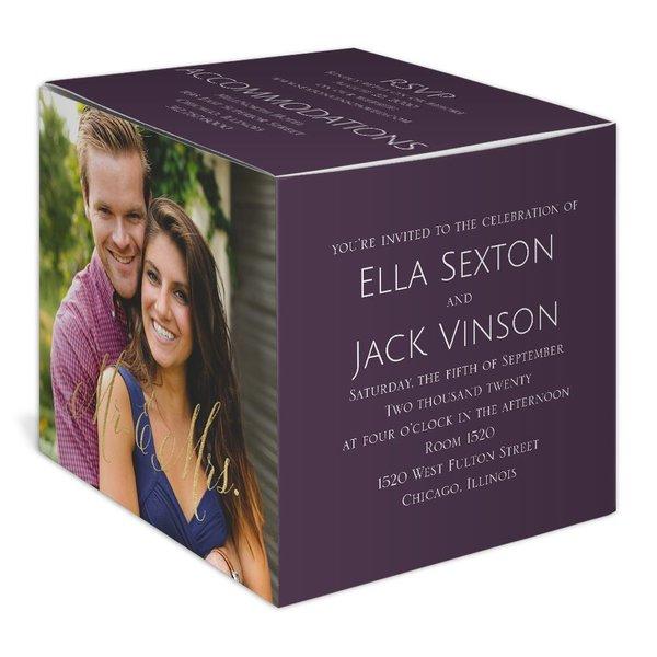 Happy Couple - Gold - Foil Photo Cube Invitation