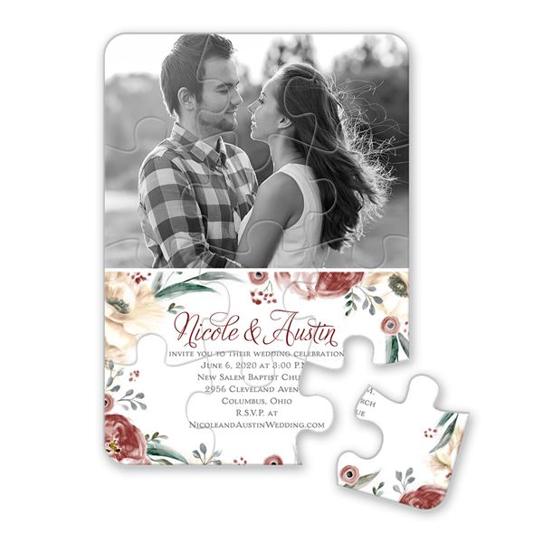 Poppies and Roses Puzzle Invitation
