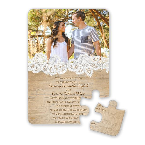Wood and Lace Puzzle Invitation