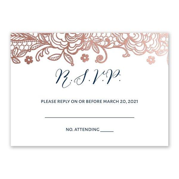 Glamorous Lace - Rose Gold - Foil Response Card