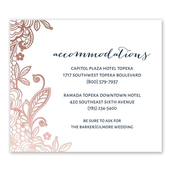 Glamorous Lace - Rose Gold - Foil Information Card