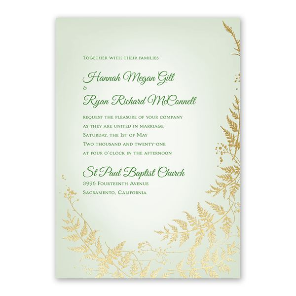 Woodland Sparkle - Gold - Foil Invitation