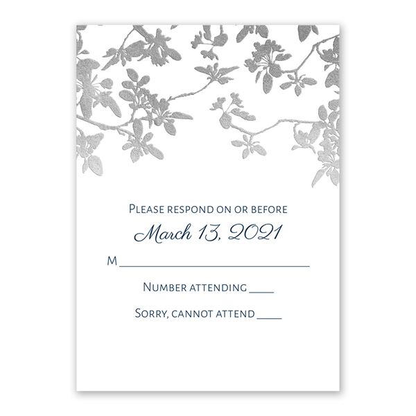 Woodland Branches - Silver - Foil Response Card