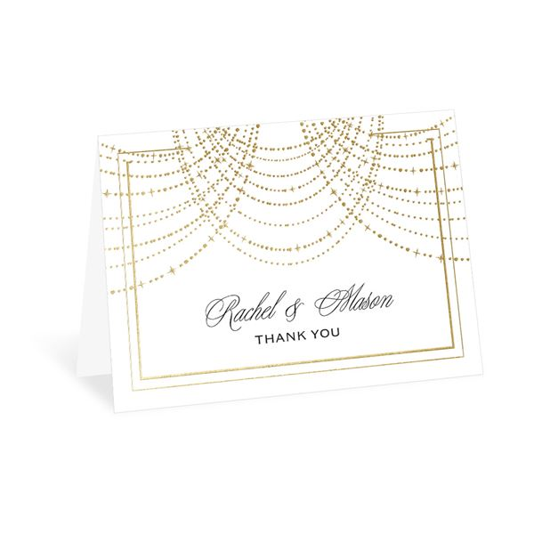 Twinkling Lights - Gold - Foil Thank You Card