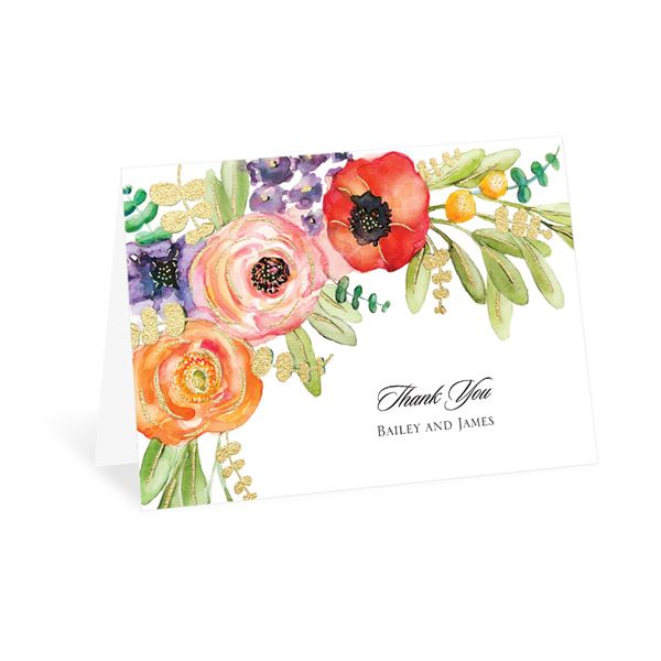 Wildflower Burst - Gold - Foil Thank You Card