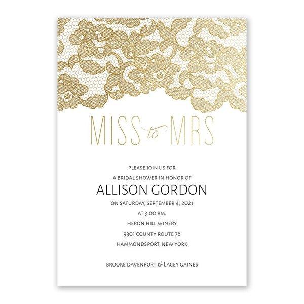 Miss to Mrs. - Gold Foil - Bridal Shower Invitation