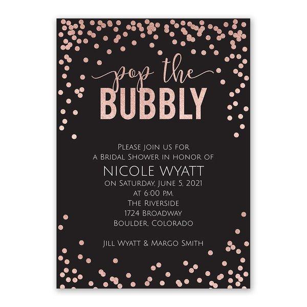 Pop the Bubbly - Rose Gold Foil - Bridal Shower Invitation