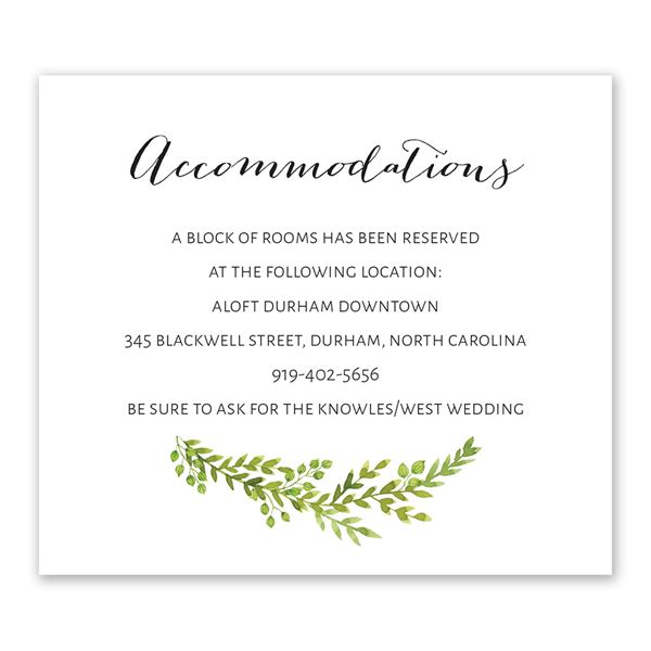 Watercolor Greenery Information Card