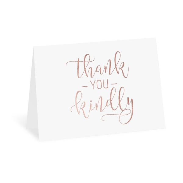 Thank You Kindly - Rose Gold Foil Thank You Card