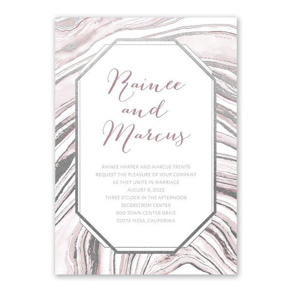 Modern Marble Silver Foil Invitation