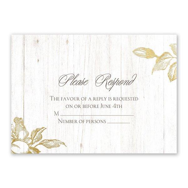 Gardenia Glow Gold Foil Response Card