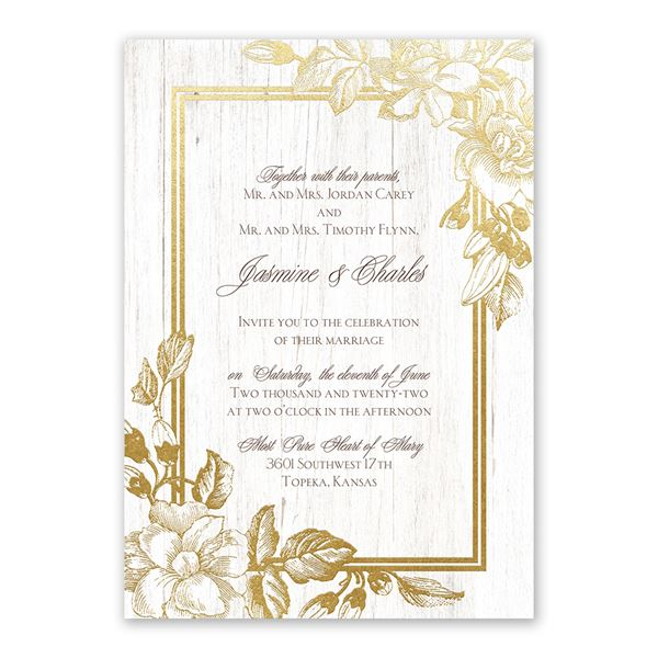 Gardenia Glow Gold Foil Invitation