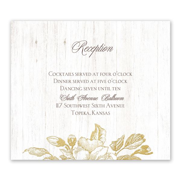 Gardenia Glow Gold Foil Information Card