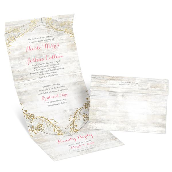 Weathered Glam Gold Foil Seal and Send Invitation