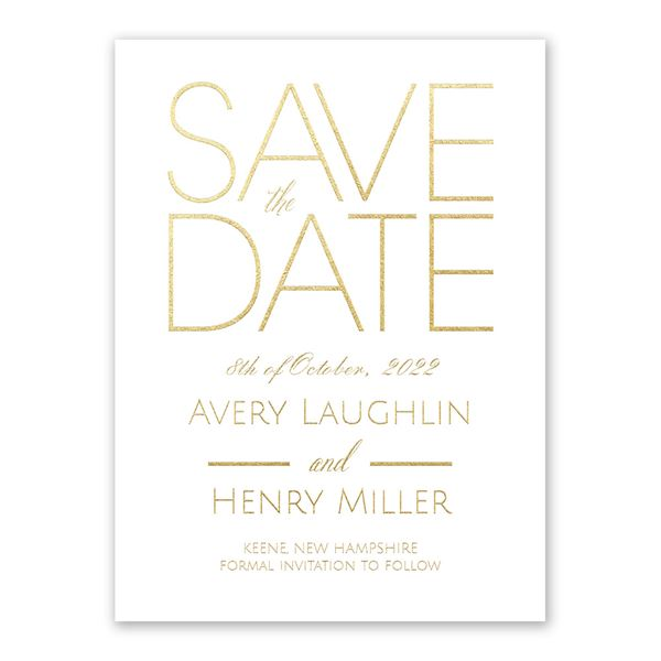 Shining Date - White - Foil Save the Date Card