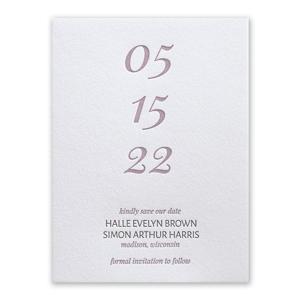 All Lined Up Letterpress Save the Date Card