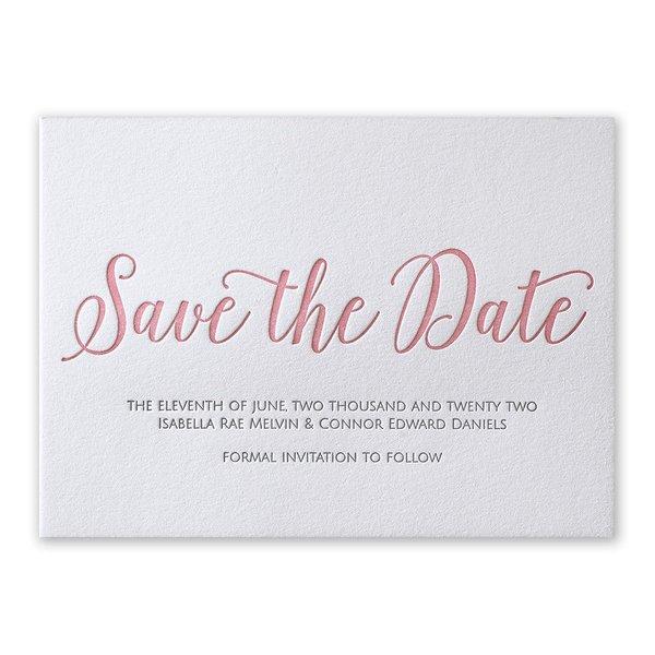 A Classic Date Letterpress Save the Date Card