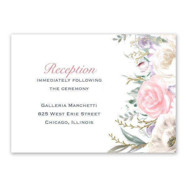 Pale Roses - Gold - Foil Reception Card