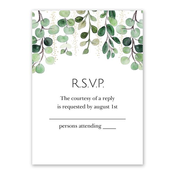Sparkling Greenery - Gold - Foil Response Card