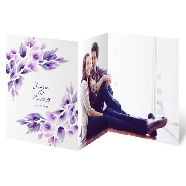Watercolor Blooms - Violet - Trifold Invitation