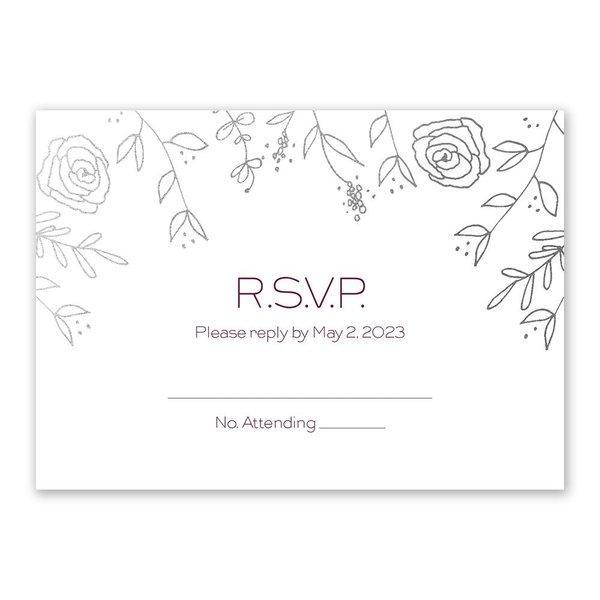 Sketched Botanical - Silver - Foil Response Card
