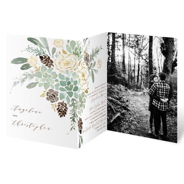 Winter in Bloom - Gold - Foil Trifold Invitation