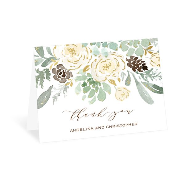 Winter in Bloom - Gold - Foil Thank You Card