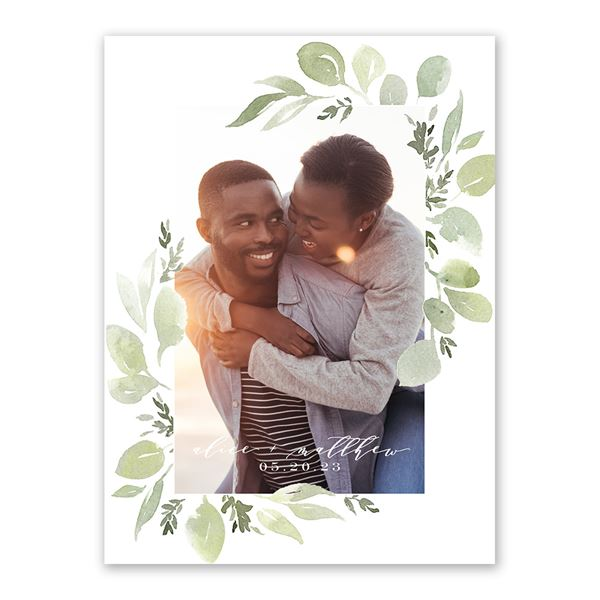 Painted Greenery Save the Date Card