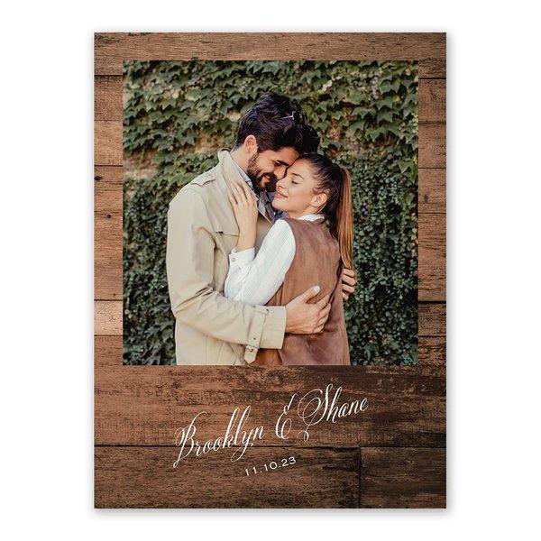 Woodgrain Frame Save the Date Card