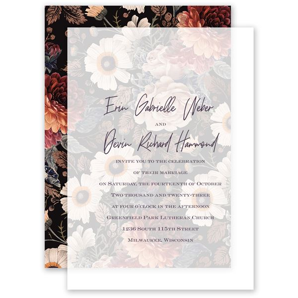 Abundant Blooms Layered Vellum Invitation