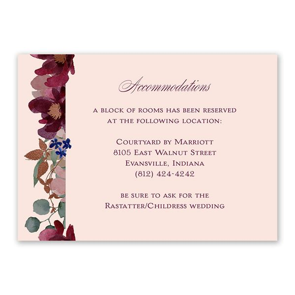 Lush Floral Information Card