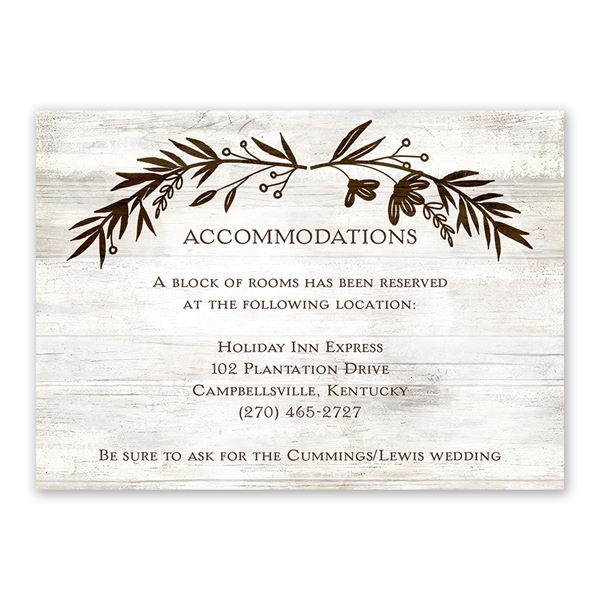 Rustic Fairy Tale Information Card