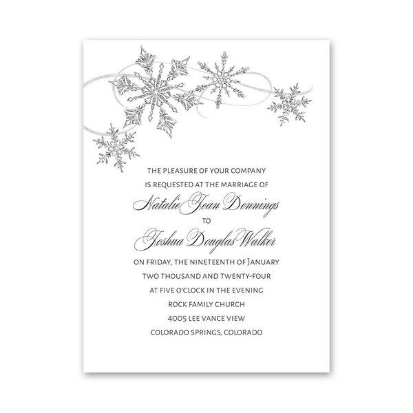 Silver Snowflakes Petite Invitation