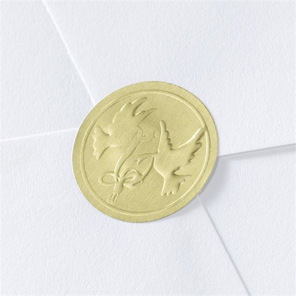 Blank Gold Embossed Doves Wedding Seal