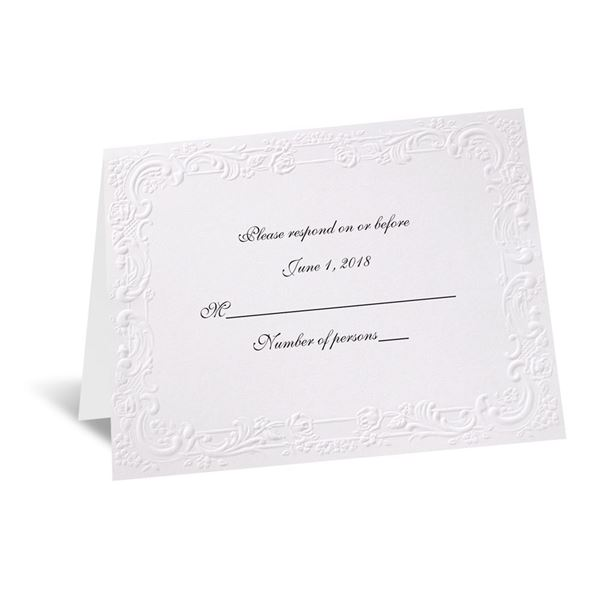 With a Flourish - White Response Card and Envelope